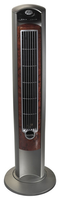 """42"""" Wind Curve Tower Fan With Fresh Air Ionizer, Woodgrain Accents."""