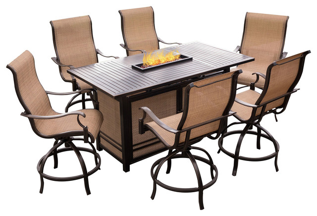 Monaco 7 Piece High Dining Set With Swivel Rockers And 30,000 BTU Fire Pit