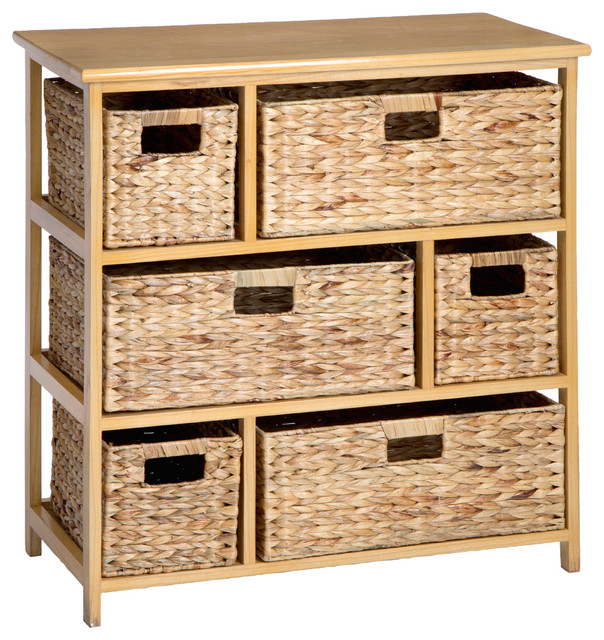 Natural Storage Unit With 6 Baskets.