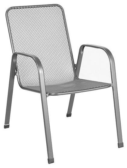 Verona Steel Stack Mesh Chair, Grey, Set of 4