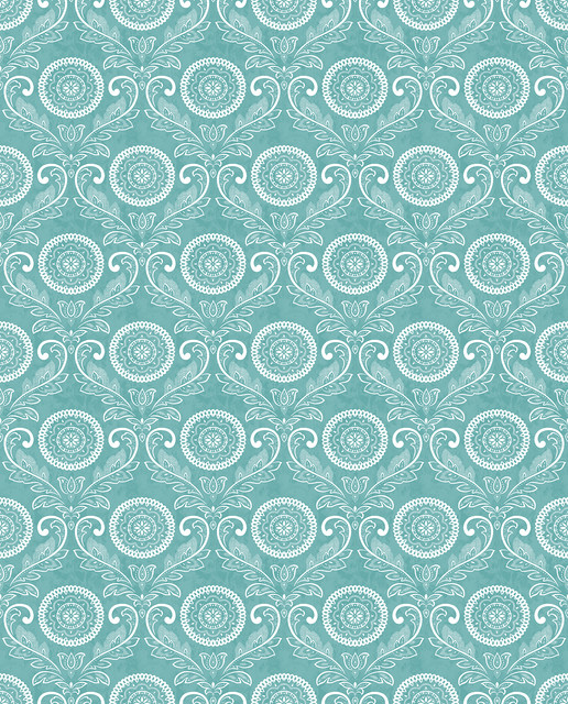 Jubilee Teal Medallion Damask Wallpaper