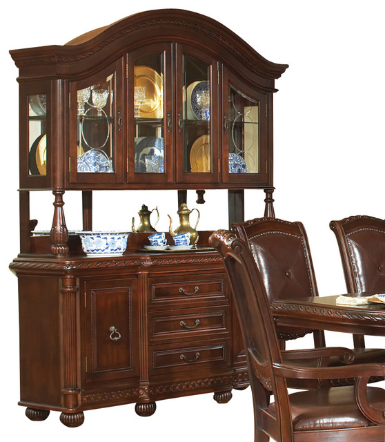 Steve Silver Antoinette Buffet with Hutch in Rich Cherry - Traditional - China Cabinets And ...