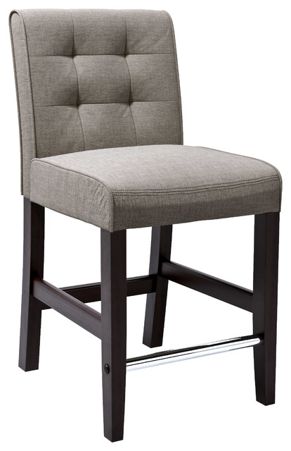 Corliving Antonio Barstool In Grey Tweed Fabric