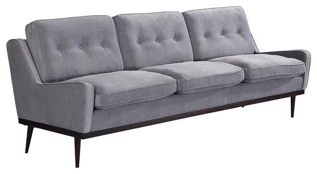 Merveilleux Elektra Midcentury Modern Premium Fabric Sofa, Graystone, Material: Velvet
