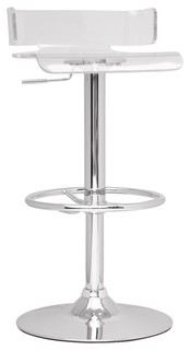 Pneumatic Gas Lift Adjustable Height Swivel Stool, Clear