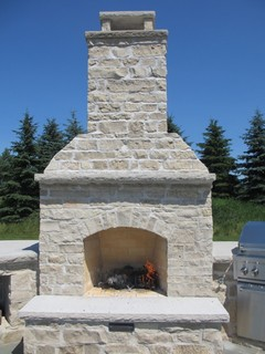 Limestone Outdoor Fireplace Traditional Patio Other