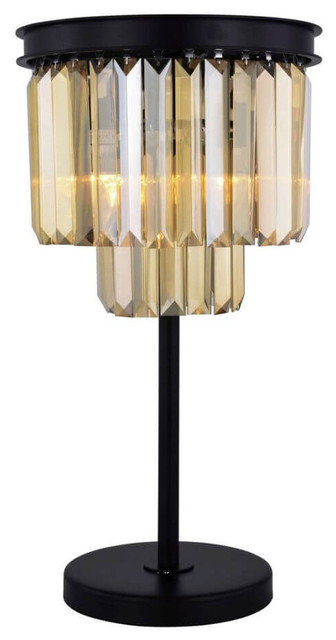 Elegant Lighting Sydney 3-Light Table Lamp, Matte Black, Golden Teak Smoky