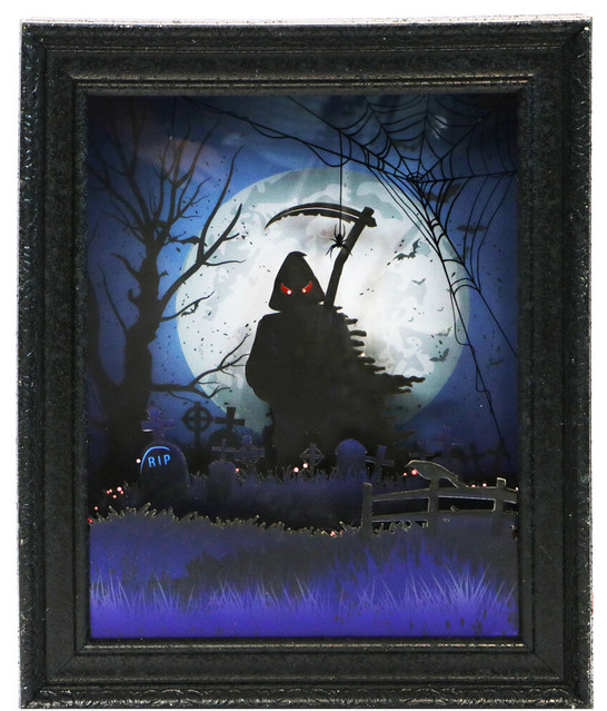 """18"""" Grim Reaper Shadowbox with Animation and Spooky Music, Black"""