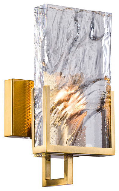 Gold Stainless Steel Frame Wall Sconce, Clear Crystal Plaque
