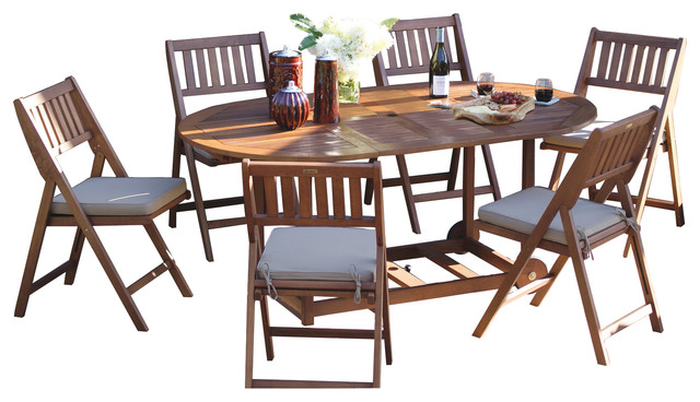 7 Piece All Wood Fold And Store Set Craftsman Dining Sets