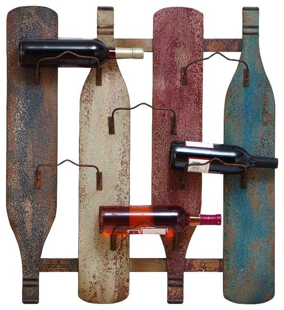 Bottle Multicolor Rustic Metal Wall 6 Wine Rack Holder Decor