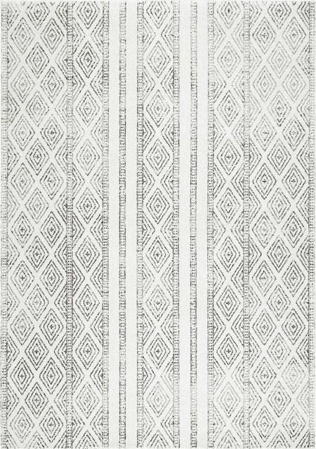 Sarina Diamonds Area Rug, Rectangle, Gray, 9&x27;x12&x27;.