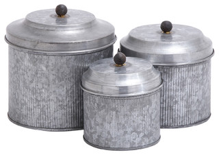 Farmhouse galvanized metal canister set of 3 multi color for Hearth and home designs canister set