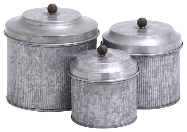 Galvanized metal canisters 3 piece set 8 7 6 for Kitchen set industrial