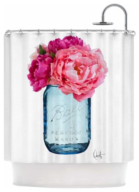 Oriana Cordero Perfect Mason Blue Pink Shower Curtain
