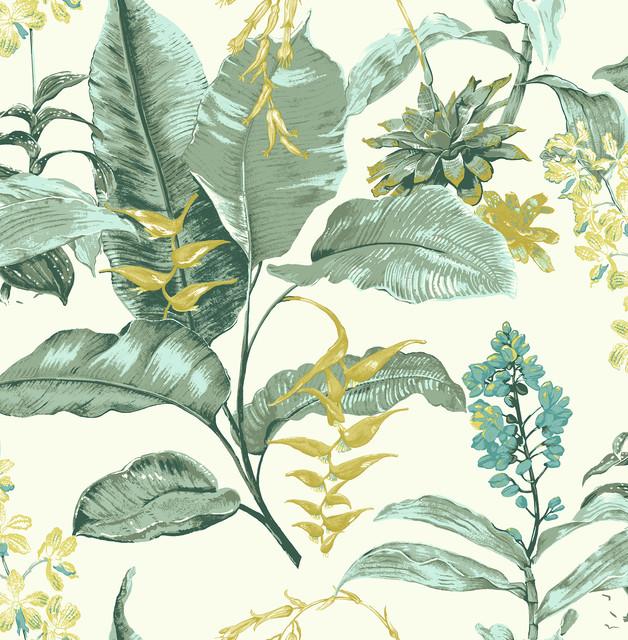 Maui Green Botanical Wallpaper Swatch.