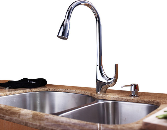 Kraus Plumbing Fixtures : ... Kraus Single Lever Pull Out Kitchen Faucet Chrome - Kitchen Faucets