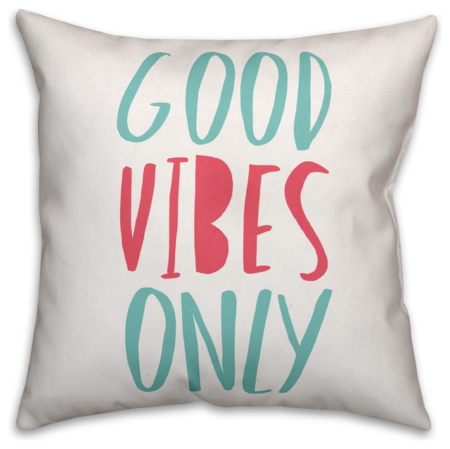 Blue And Pink Good Vibes Only Spun Poly Pillow, 18x18.