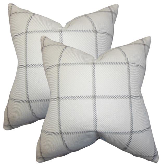 Wilmie Plaid Throw Pillows, Set of 2, Gray White