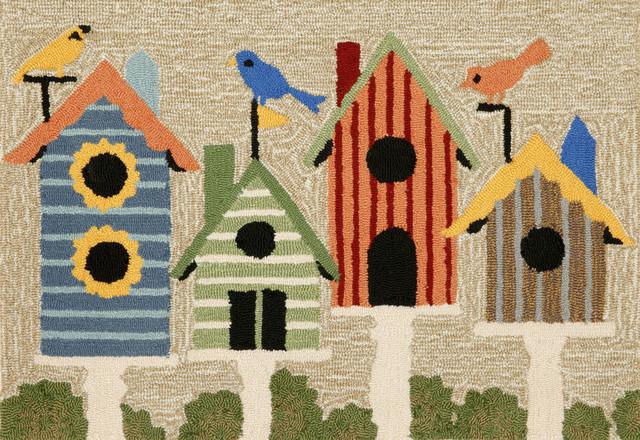 Frontporch Birdhouses Mat, Neutral, 24x36.