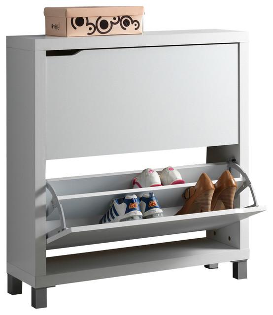 Merveilleux Baxton Studio Simms White Modern Shoe Cabinet