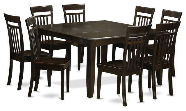 Pfca cap kitchen table set transitional dining sets for 9 piece dining room set with leaf