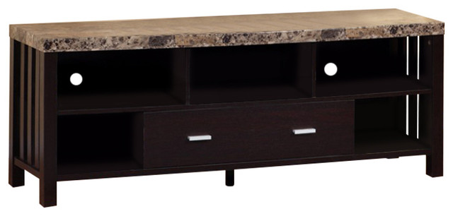 huge selection of 57194 624dd Deluxe Faux Marble Top TV Stand With 5 Open Shelves.