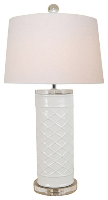 Beautiful White Porcelain Patterned Geometric Vase Table Lamp Clear