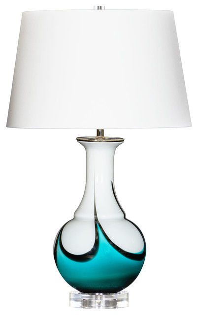 Skylight Handcrafted Table Lamp, Aqua Transitional Table Lamps