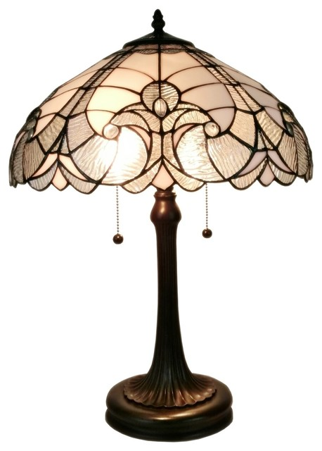 Amora Lighting Tiffany Style White Table Lamp 23 In High.