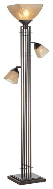 City Lines 1-Light Floor Lamps, Bronze With Copper Highlights.