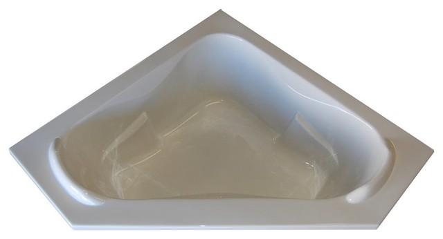 American Acrylic And Injection Corner Soaking Tub, White.