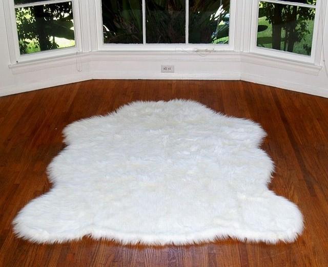 Faux Alaskan Polar Bear Rug White 4'10x6'8 Large