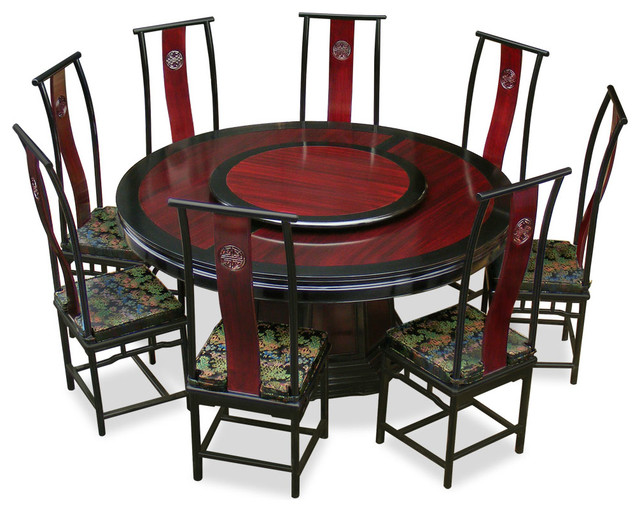 Ming Style Rosewood Round Dining Table Set With 8 Chairs Asian Dining Sets By China Furniture And Arts