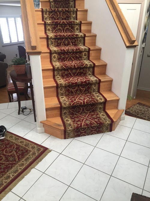 Would Terra Cotta Tile Entryway Work With Wood Stairs And Rug
