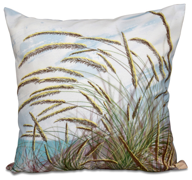 "Ocean Breeze, Floral Print Pillow, Aqua, 18""x18""."