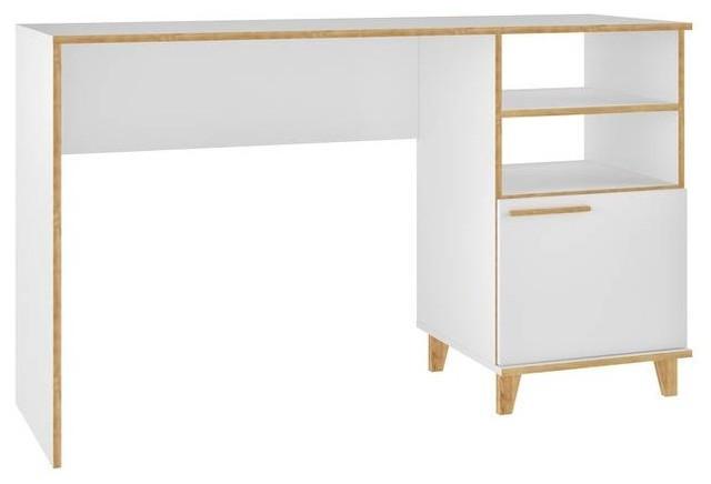 Mid Century Modern White Office Desk, 2-Shelves, 1-Door