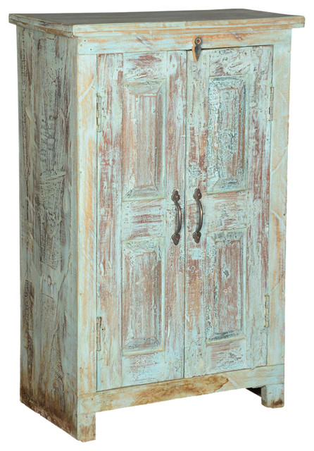 Amish Reclaimed Wood Small Storage Cabinet End Table With 2 Doors