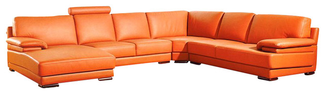 2227 Orange Top Grain Leather Sectional Sofa sectional-sofas  sc 1 st  Houzz : orange sectional sofa - Sectionals, Sofas & Couches