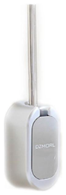 Toilet Brush Long Handle Nylon Silk Brush Head Wall Hanging Models, Silver