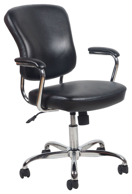 essentials by ofm swivel leather office chair with padded arms black and chrome - Gray Leather Office Chair