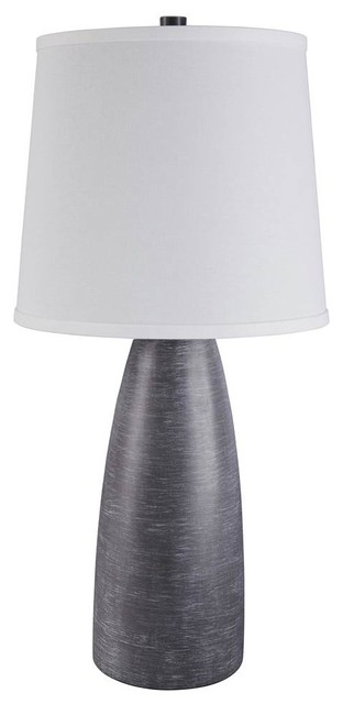 Contemporary Poly Table Lamp In Gray Finish, Set Of 2.