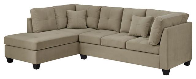 Sofa Sectional Ultra Soft Taupe Velvet