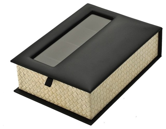 Reading  And Sunglasses Organizer Box, Pandan Leaf And Faux Leather