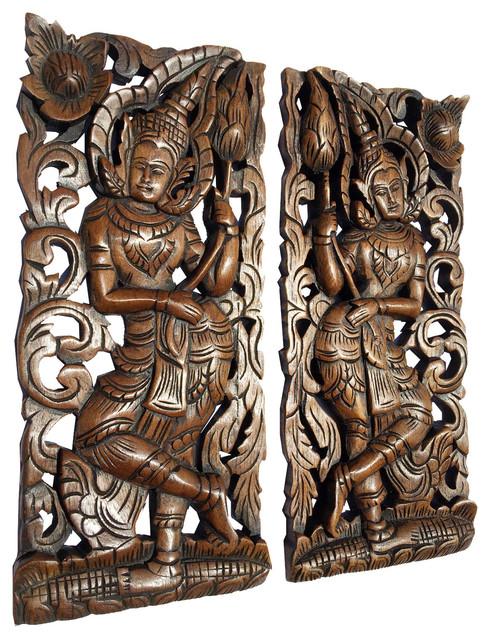 Oriental Carved Wood Wall Art Decor
