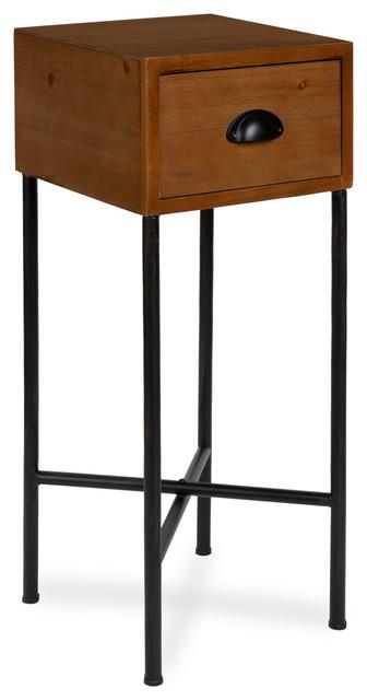 Superbe Decklyn Wood Side Table, Brown 12x12x30