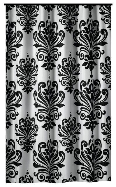 Extra Long Shower Curtain 72x 78 Gamma Black And White Baroque Fabric