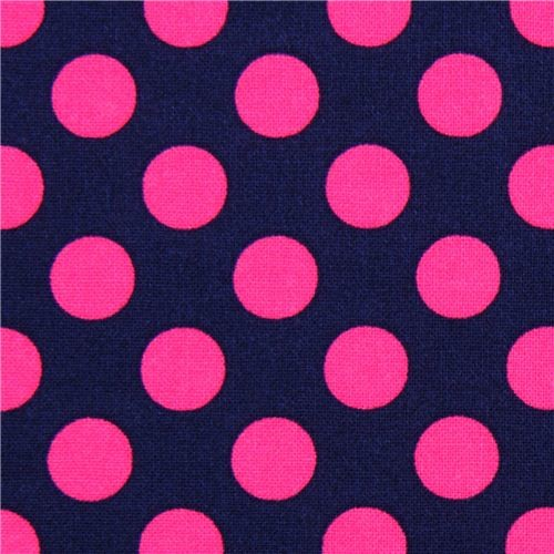 navy blue dot fabric with pink polka dots by Michael Miller