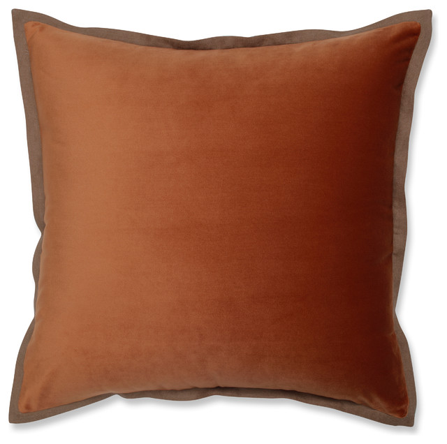 "Velvet Flange Cinnamon Orange Throw Pillow, 18""."