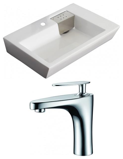 Rectangle Vessel Set, White, Single Hole Cupc Faucet, 26x18.